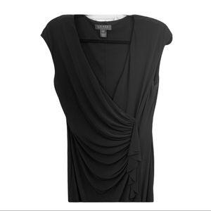 Ralph Lauren Black Ruched Faux Wrap Dress
